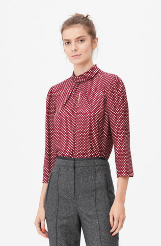Tailored Deco Dot Twist Neck Top in Huckleberry Combo