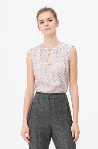 Tailored Deco Dot Silk Twill Top in Snow Combo