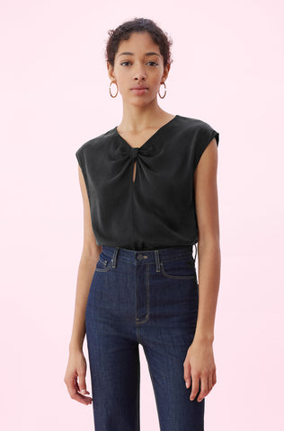 Silk Charmeuse Knot Top in Black