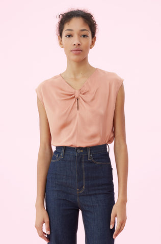 Silk Charmeuse Knot Top in Copper