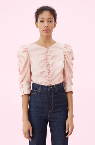 La Vie Washed Sateen Ruched Top in Rose Quartz