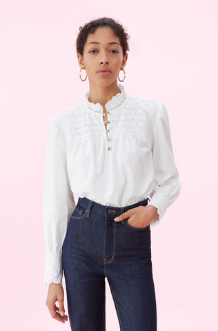 La Vie Peached Poplin Embroidered Top in Milk