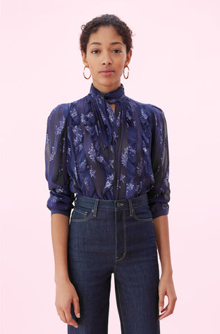 Metallic Star Clip Tie Neck Top in Gemini
