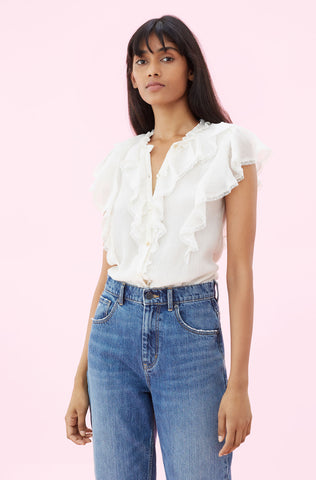 Silk Cotton Voile Ruffle Top in Cream