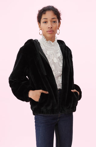 La Vie Faux Fur Bomber in Black