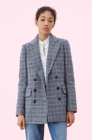 La Vie Doubleface Wool Plaid Coat in Rose Quartz Combo