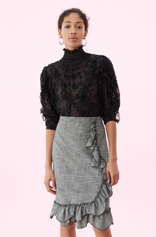 Silk & Embroidered Ruffle Top in Black