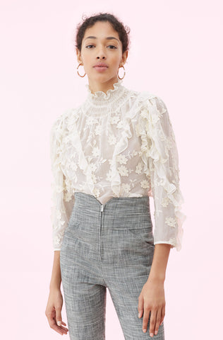 Silk & Embroidered Ruffle Top in Cream