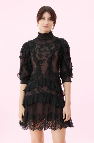 Silk & Embroidered Ruffle Dress in Black