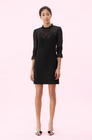 Crepe & Lace Dress in Black
