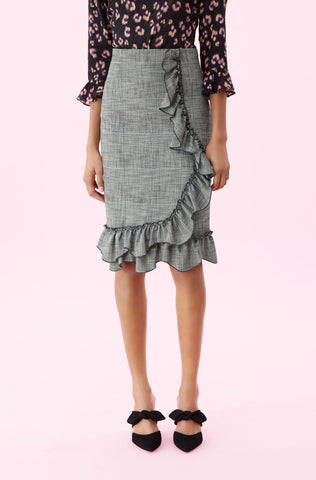 Plaid Ruffle Skirt in Black Combo
