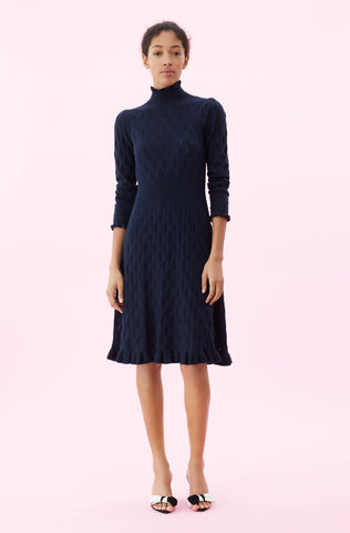 La Vie Diamond Pointelle Sweater Dress in Deep Teal