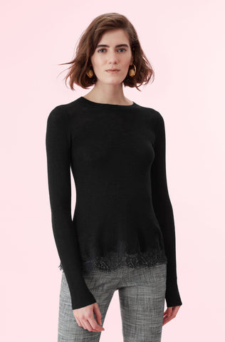 Lace Combo Pullover in Black