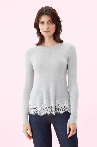Lace Combo Pullover in Light Grey Melange