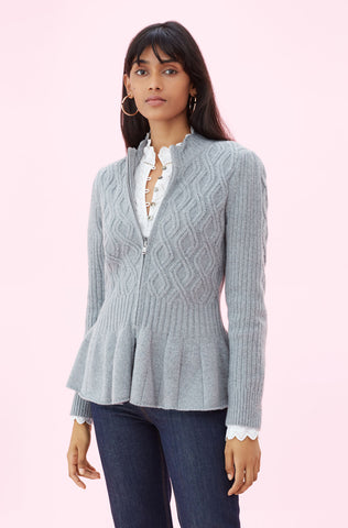 La Vie Spiral Cable Cardigan in Heather Grey