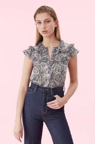 Snake Print Ruffle Top in Washed Black Combo