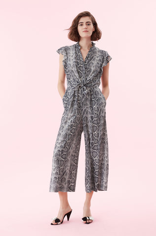 Snake Print Silk Jumpsuit in Washed Black Combo