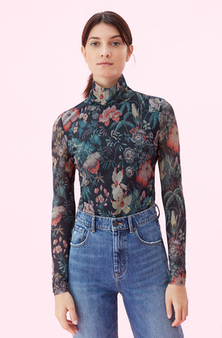 La Vie Faded Garden Mesh Top in Dark Navy Combo