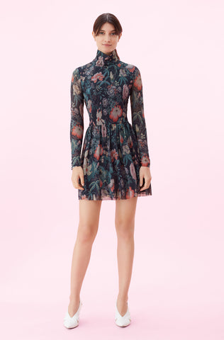 La Vie Faded Garden Mesh Dress in Dark Navy Combo