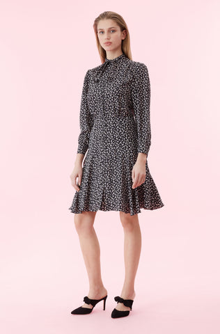 Mini Cheetah Silk Jacquard Dress in Black Combo