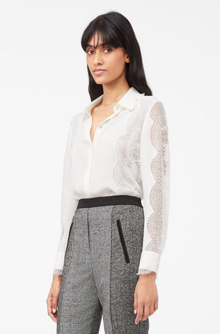 Tailored Silk Double Georgette & Lace Top in Snow