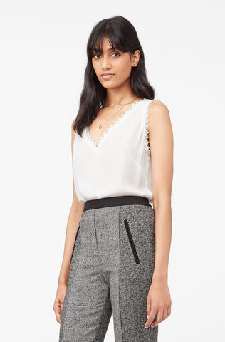 Tailored Silk Double Georgette & Lace Tank in Snow
