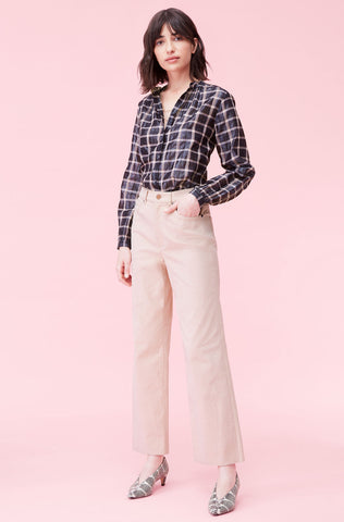 La Vie Lame Plaid Top in Pink Cloud Combo