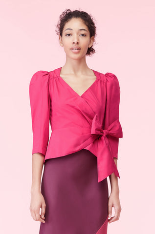 Taffeta Bow Top in Cocktail