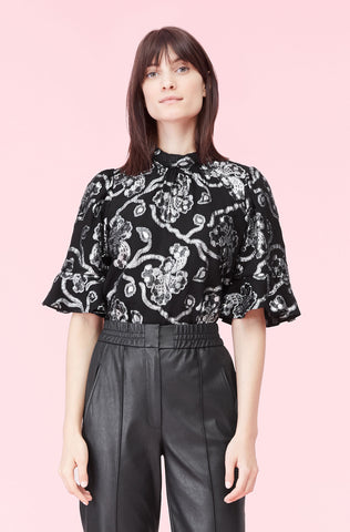 Lurex Lily Clip Top in Black/Silver
