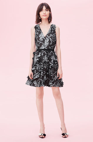 Lurex Lily Clip Dress in Black/Silver