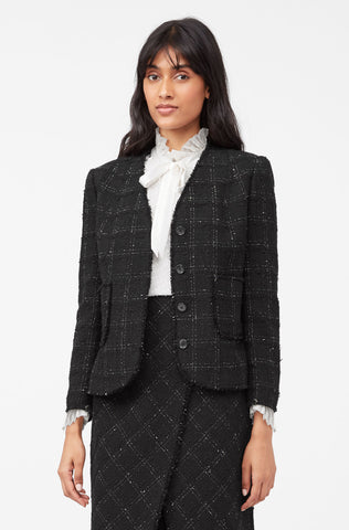 Tailored Textured Tweed Jacket in Black Combo