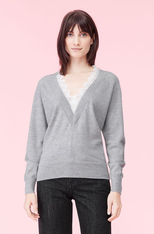 Lace Combo Pullover in Warm Heather Grey/Snow