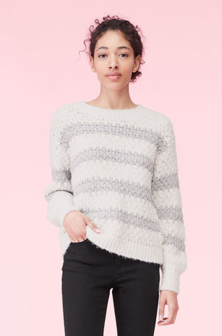 Lurex Stripe Pullover in Snow/Smoke Combo