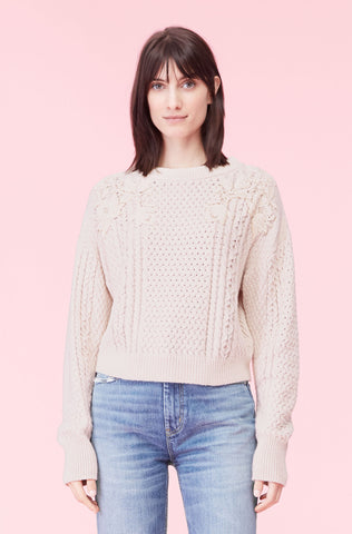 Lace Applique Pullover in Ecru