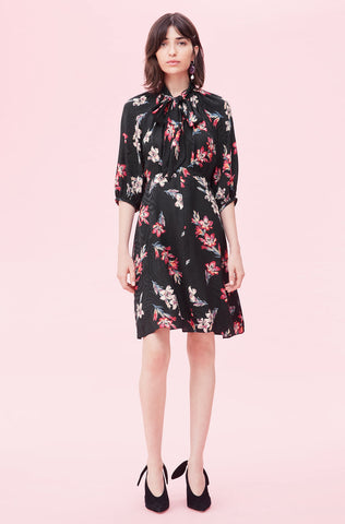Noha Floral Jacquard Dress in Black Combo
