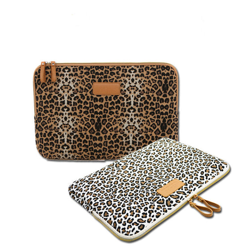 Leopard Canvas Fabric Notebook Laptop Sleeve Bag