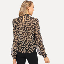 Load image into Gallery viewer, Multicolor Choker Neck Leopard Blouse