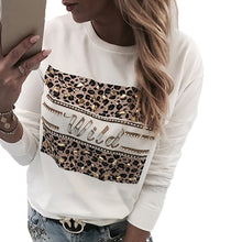 Load image into Gallery viewer, Women's-Pullover-Leopard-Printed-White-Sweatshirt.jpg