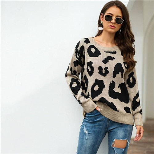 Winter Casual Leopard Print Sweater
