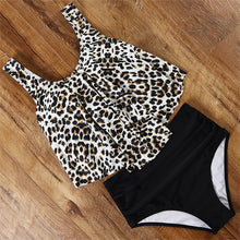 Load image into Gallery viewer, Leopard Brazilian Ruffle Swimsuit