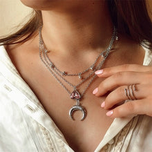 Load image into Gallery viewer, Bohemian Moon Circle Map Pendant Necklace
