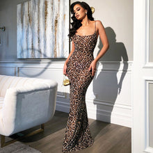 Load image into Gallery viewer, Leopard Vintage Animal Print Maxi Dress