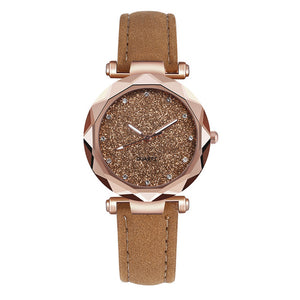 Women Casual Leather Rhinestone Wrist Watch