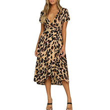 Load image into Gallery viewer, Women's-Sexy-Leopard-Print-Midi-Dress.jpg