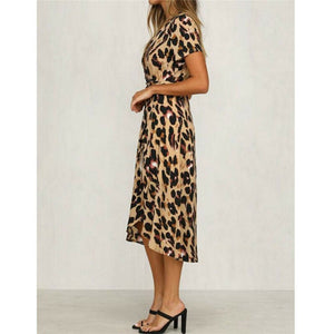 Women's Sexy Leopard Print Midi Dress
