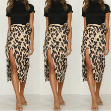 Load image into Gallery viewer, Leopard Print Sexy Split Wrap Skirt