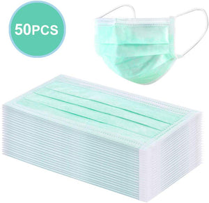 50 Pack Disposable 3-Ply Face mask - GREEN