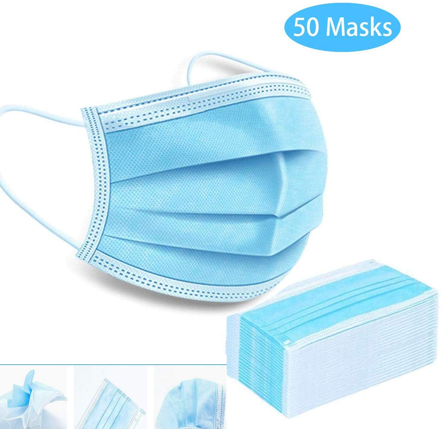 50 Pack Disposable 3-Ply Face mask - BLUE