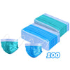 100 Pack Disposable 3-Ply Face mask - Antiviral - GREEN and BLUE