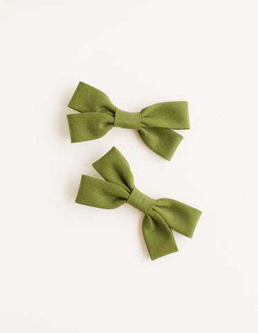 cotton hair clip for girls vintage green